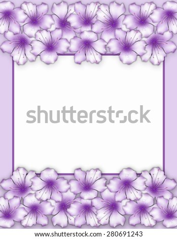 Flower frame. Floral border. Bouquet of purple azalea flowers - stock photo