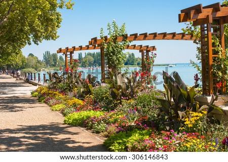Flower garden at Lake Balaton's beach in Balatonfured, Hugary - stock photo