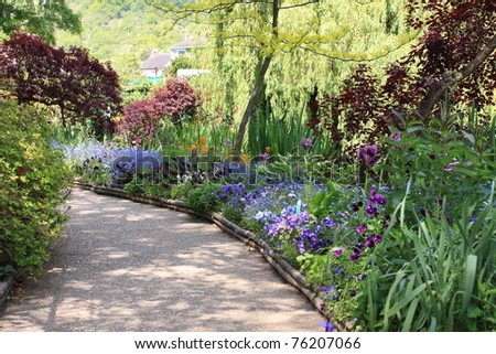 flower garden in spring - stock photo