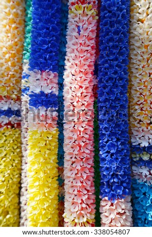 Flower Garland Buddhist Offering Thailand - stock photo