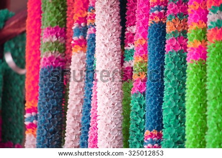 Flower garlands for buddhist religious ceremony - stock photo