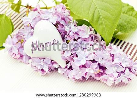 flower greeting card background for your text - german for mom - stock photo