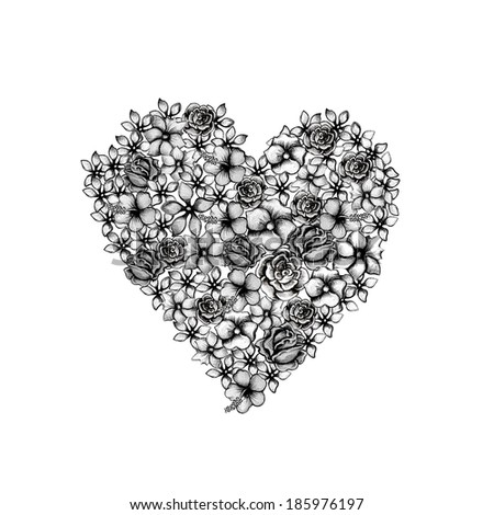 Flower heart .Hand drawing on paper. - stock photo