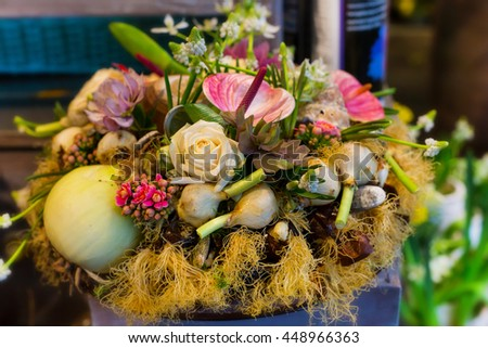 Flower holiday decoration, beautiful lily and peony blooming bouquet - stock photo