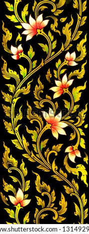 Flower images artistic from Thai painting & literature for background or wallpaper (General Thai Temple Art) - stock photo