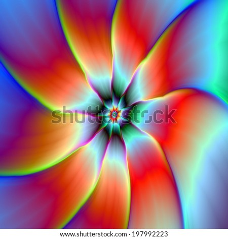 Flower in Red Orange and Yellow / A digital abstract fractal image with a flower design in red, orange, yellow, blue, purple and turquoise. - stock photo