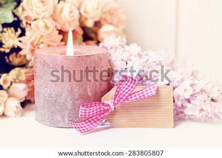 flower in white vase greeting card background - stock photo