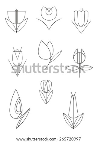 Flower line calligraphy illustration collection for design - stock photo
