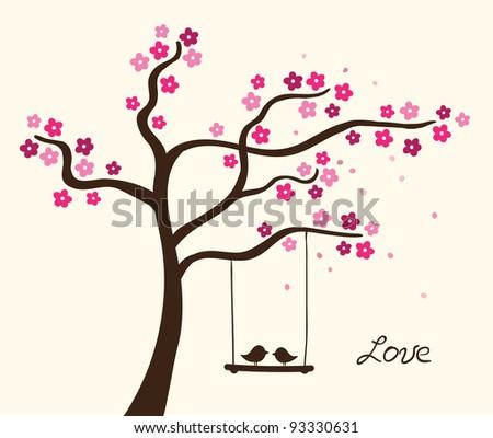 Flower love tree - stock photo