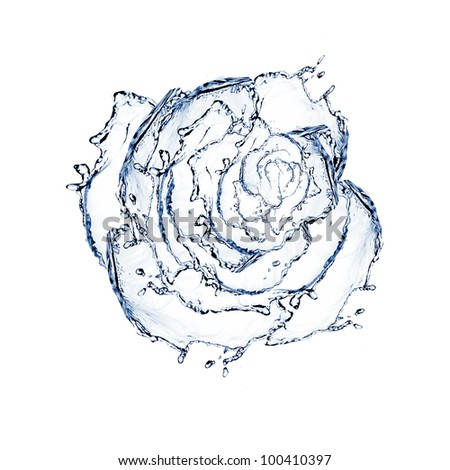 flower made of water. rose - stock photo