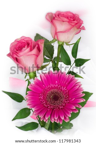 Flower of gerber daisy and pink roses isolated on white - stock photo