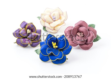 flower of silk brooch - stock photo