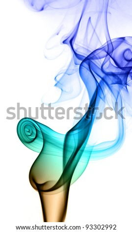 Flower of the smoke to spiral in part on a white background. - stock photo