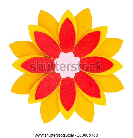 Flower origami paper craft stick on white - stock photo