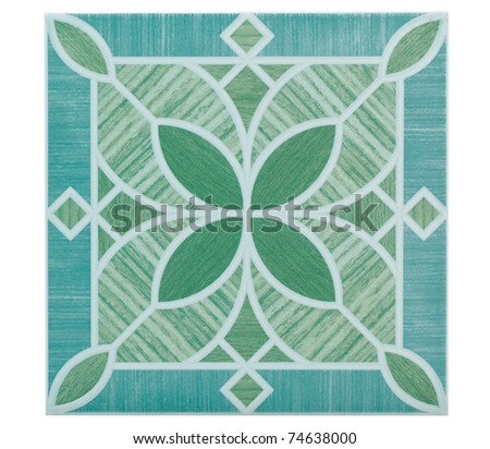 Flower pattern floor tile and wall tile the image isolated on white - stock photo