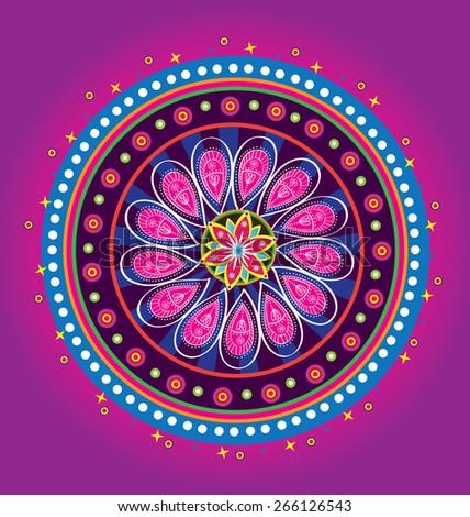 Flower pattern mandala - stock photo
