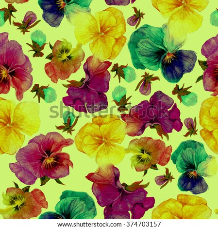 Flower pattern, watercolor painting on green background - stock photo