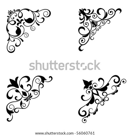 Flower patterns and borders. Vector version also available in gallery - stock photo