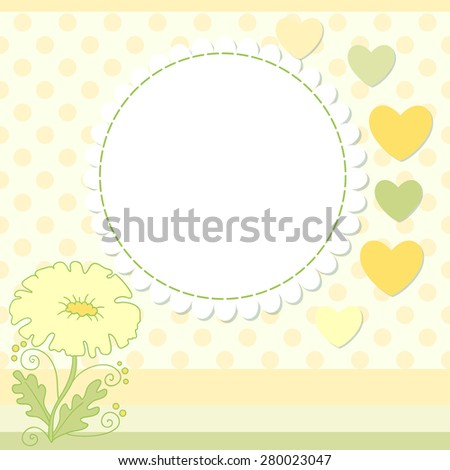 Flower photo frame.  Cute scrapbook page. - stock photo