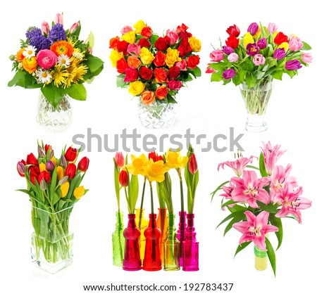 flower power. beautiful bouquet of colorful flowers in a vase. tulips, roses, narcissus, lily blossoms over white background. holidays decoration - stock photo