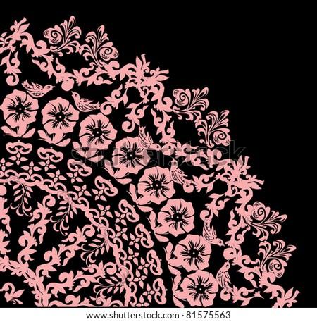 flower quadrant isolated on black background - stock photo