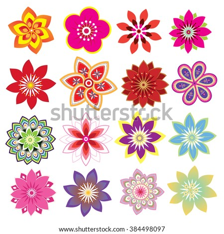 Flower set - stock photo