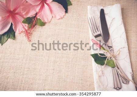 Flower table setting copy space background, selective focus, vintage tone - stock photo