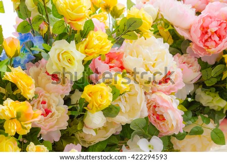 Flower texture. Background of flowers. Vivid colorful flowers. Pattern natural flowers. Backdrop fresh flowers. Wall decoration of flowers - stock photo