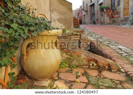 flower vase with ivy creeper and tuscan street, Italy - stock photo