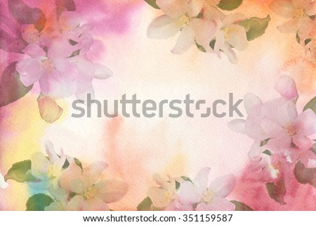 Flower watercolor background. Flowers of apple.Invitations, wedding card, birthday, Women's Day. - stock photo