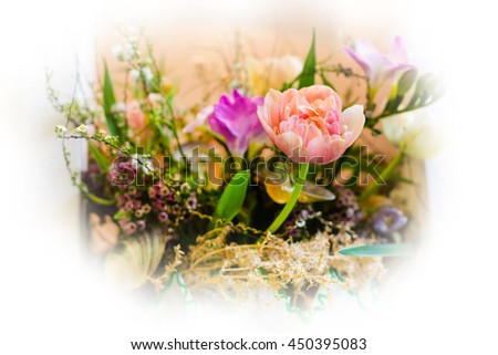 Flower wedding holiday decoration, beautiful pink roses peony blooming bouquet - stock photo