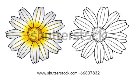 flower with stencil - stock photo