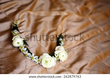 Flower wreath decoration with ranunculus. Selective focus. Shallow DOF.  - stock photo