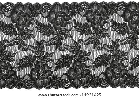 flowered  black lace - stock photo