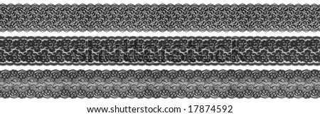 flowered textile black borders on white background - stock photo
