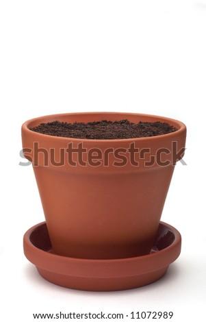 Flowerpot - isolated on white - stock photo