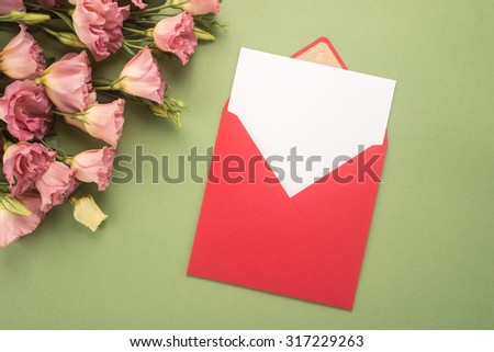 Flowers and envelope   - stock photo