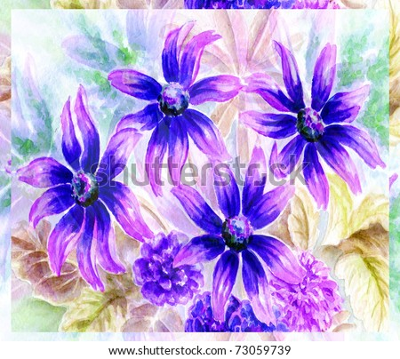Flowers and leaves, picture, drawing a water colour on a paper - stock photo