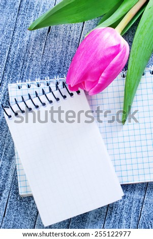 flowers and note - stock photo