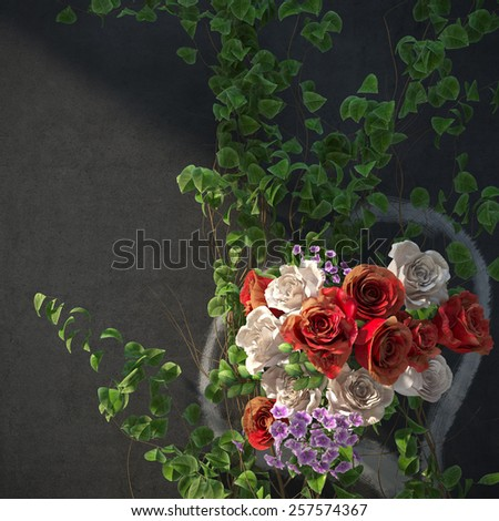 flowers and plants holiday concept with heart picture on wall - stock photo