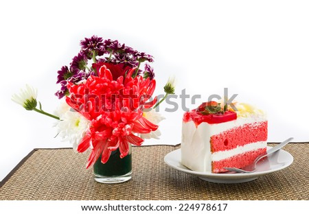 Flowers and  strawberry cake  on white isolated background - stock photo