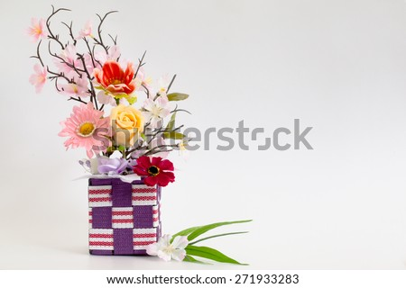 Flowers artificial on white backgrounds - stock photo