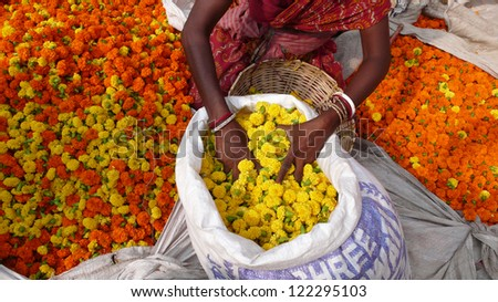 Flowers at the flower market in Kolkata. India - stock photo