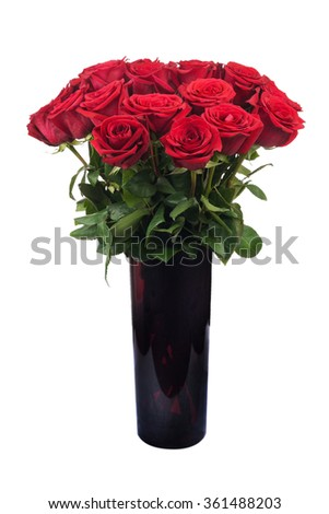 Flowers bouquet from red roses isolated on white background.