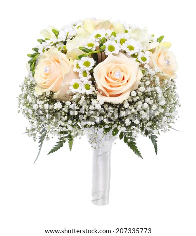 Flowers bouquet isolated on white  - stock photo