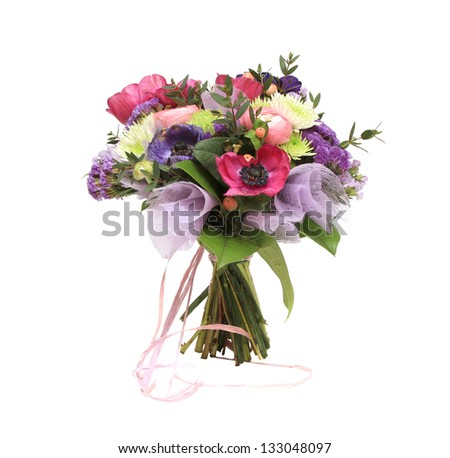 flowers bouquet on white background - stock photo