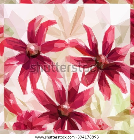 Flowers Bouquet, Polygonal Low Poly Colorful Pattern.  - stock photo