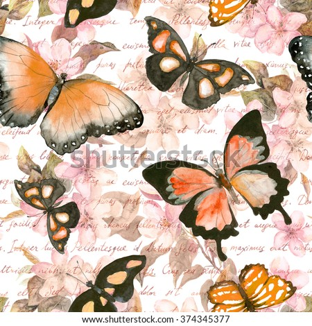 Flowers, butterflies and hand written text note. Watercolor. Seamless pattern  - stock photo