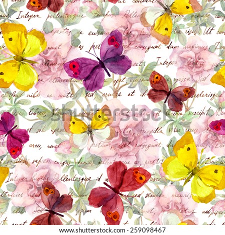Flowers, butterflies and vintage hand written text letter. Watercolor. Retro repeated pattern - stock photo