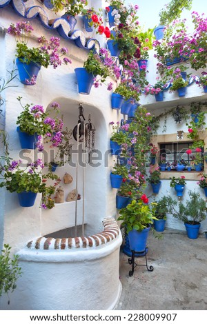 Flowers Decoration of Vintage Courtyard, typical house in Cordoba - Spain, Europe - stock photo